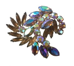 Vintage Brown Fall Rhinestone Weiss Brooch Pin Floral Leaf Design - $59.39