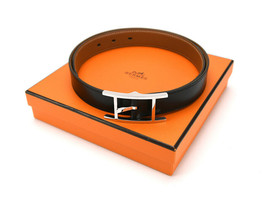 Hermes Auth easily reversible belt leather black brown silver buckle I - $614.53