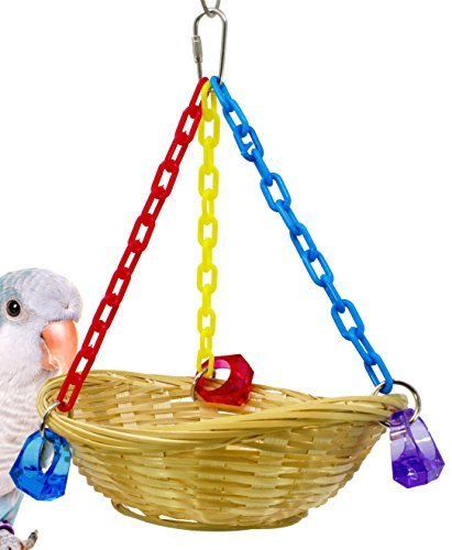 Bonka Bird Toys 1914 Basket Swing Bird Toy Cages Toys Parrot Natural Conure Cock