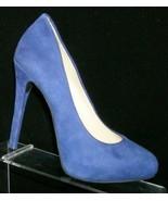 Jessica Simpson 'Natalli' blue suede almond toe slip on platform heels 6... - $33.30