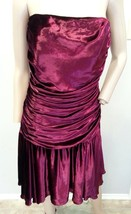 VTG 90's Betsey Johnson NY Maroon Oxblood Velvet Grunge Ruched Dress 6 - $237.49