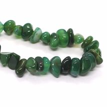 925 Silver Necklace with Agate Green Striated, 50 or 75 cm length image 5