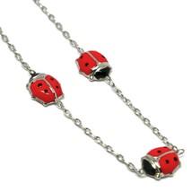 Bracelet White Gold 18K 750, for Girl, Ladybugs Glazed Tiles, Length 14 CM image 2