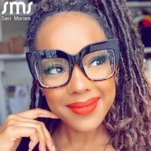2021 Anti-blue Big Glasses Frames Optical Women Sunglasses Retro Oversized Eyegl image 2