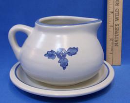 Pfaltzgraff Yorktowne Gravy Sauce Syrup Bowl w/ Under Plate Blue Flower ... - $13.85
