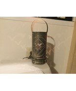 Electric Colonial Style Punched Tin LANTERN With Handle Pennsylvania Dutch - $20.00