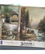 Thomas Kinkade 3 Jigsaw Puzzles 100, 300, 500 Pieces NEW - $37.99