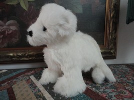 One of a Kind White Real Fur Standing Dog with Swivel Head 12 x 11 inch - $280.25