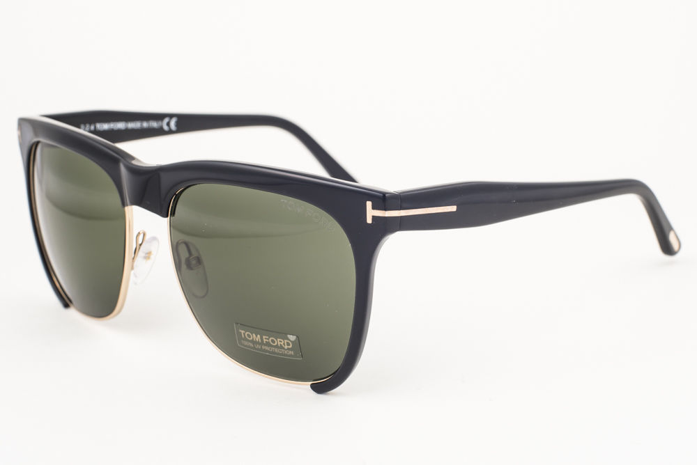 Tom Ford Thea Shiny Black / Green Sunglasses TF366 01G