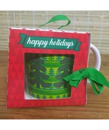 HAPPY HOLIDAY COFFEE MUG GIFT BOX CHRISTMAS TREES THEME - $4.89