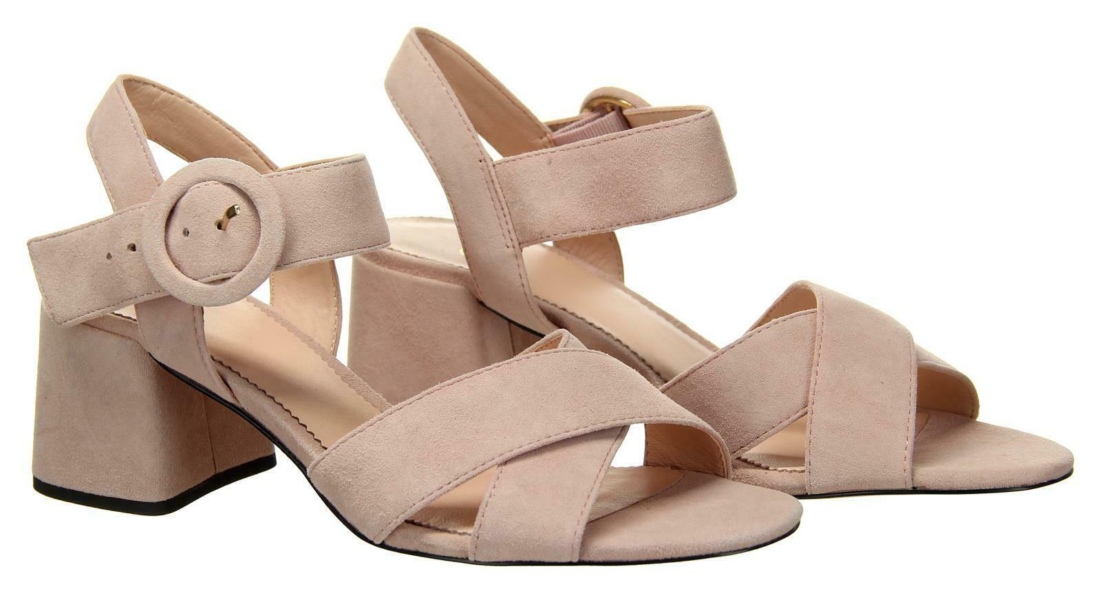 Primary image for J Crew Women's Suede Penny Sandals Heels Pumps Open Toe 7.5 Subtle Pink J8229