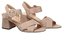 J Crew Women's Suede Penny Sandals Heels Pumps Open Toe 7.5 Subtle Pink ... - £46.14 GBP