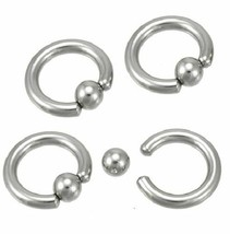 """New CAPTIVE BEAD RING 6G 5/8"""" Surgical Steel 8mm Ball Closure body piercing - $19.79"""