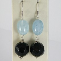 Silver Earrings 925 Rhodium Hanging with Onyx Black and Aquamarine Blue image 1