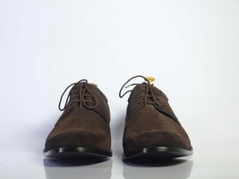 Handmade Men's Chocolate Brown Suede Dress/Formal Oxford Shoes image 2