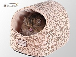 Armarkat Cat Bed with Flower Pattern, Beige - $41.87