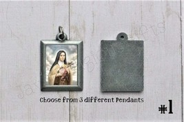 Saint Therese of Lisieux PEWTER Necklace Pendant - Religious Saint Silve... - $7.95