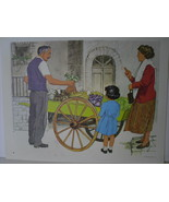 Mother and Child with Fruit Cart Vendor - Art Print - David C. Cook Co 1967 - $10.80