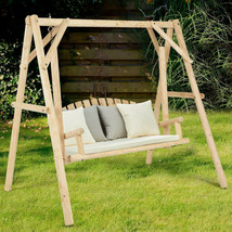 Patio Swing with Stand Rustic Natural Wood Hanging Bench Porch 2 Seater ... - $266.13