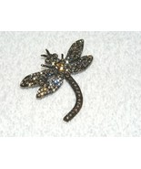 UNBRANDED DRAGONFLY BLACK TONE METAL W/ CLEAR RHINESTONE DESIGN BROOCH P... - $12.00