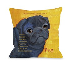 One Bella Casa Pug 3 Pillow, 20 by 20-Inch - $55.79