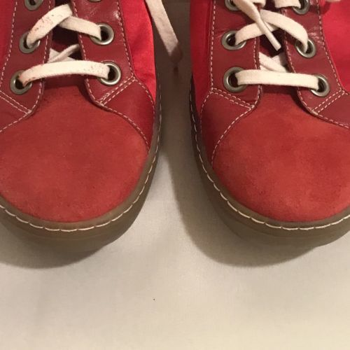 Cole Haan Air G Series Womens 8.5B Lace Up Sneakers Red Satin Leather