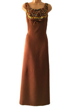 60s Raw Silk Spice Caramel Mocha Rhinestone Embellished Evening Dress, O... - $65.00