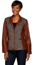 Liz Claiborne New York Heritage Collection Leather Jacket, Brown, Size 4, $284 - $69.29