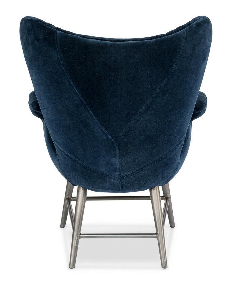 Fabulous Metal & Blue Velvet Diamond Quilt Arm Chair,32''L X 37''H.