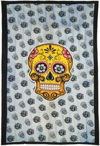 Twin Size Tapestry: Sugar Skull | 54 x 86 | Made In India | Home decor - $24.75
