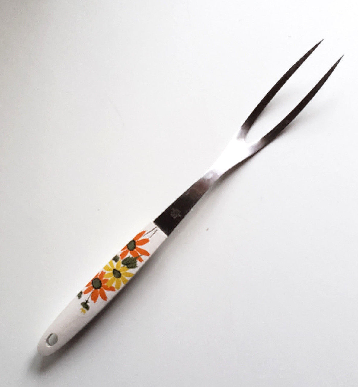 Ekco MCM Meat Carving Fork White Handle Orange Yellow Flowers USA Stainless image 2
