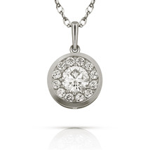 0.50CT Created Diamond Bezel Halo Pendant 14k White Gold Charm Necklace Chain - $58.35+