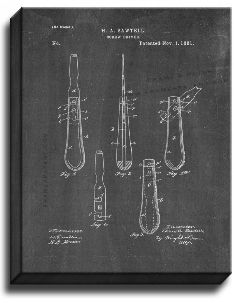 Primary image for Screwdriver Patent Print Chalkboard on Canvas