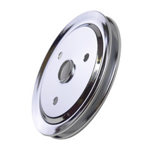 CHEVY SMALL BLOCK SINGLE-GROOVE STEEL SHORT WATER PUMP CRANKSHAFT PULLEY CHROME image 9