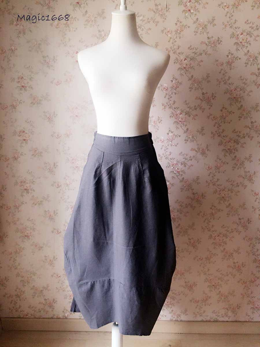 Women Loose Cozy Linen Skirt Gray Ankle Length Skirts Summer Asymmetric Skirts
