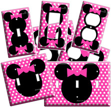Minnie Mouse Head Pink Polka Dots Kids Girls Bedroom Room Light Switch Outlet - $8.99+