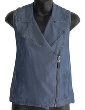 NWT Splendid Blue Motorcycle Denim Asymmetrical Zip Vest Top S Small MSR... - $30.00