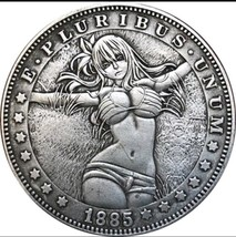 Hobo Nickel 1885 US Morgan Dollar Kinky Girl Bikini Sun Casted Coin Anim... - $11.99