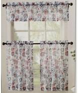 """3 Pc. Curtains Set: 2 Tiers (27""""x36"""") & Valance (54""""x14"""") FLOWERS, ELBA,... - $24.74"""
