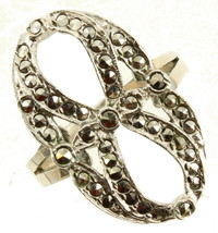 Antique Sterling Marcasite Figure 8 Unusual Open Work Bow Ring Size 7.25 - $40.49