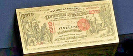 "<GEM>1875""GOLD""$5 DOLLARS Rep*Vineyard Banknote W/COA~New Jersey NOTE~US S - $11.85"