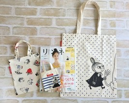 NEW MOOMIN FAMILY x NIMES Funny Tote Bag 3 pieces Set from Japan Magazine - $16.99