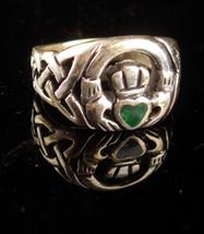 Sterling IRISH Claddagh Ring - mens 11 1/2  - Vintage Malachite heart - ... - $155.00