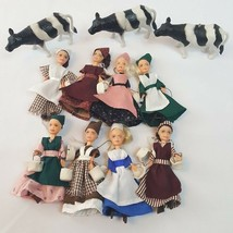 Vintage Hand Made Dolls Eight 8 Maids Milking OOAK 12 Days Christmas w/ ... - $46.43