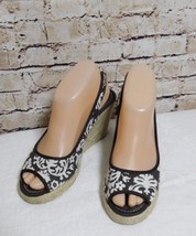 Montego Bay Club Floral Canvas Espadrille Wedge Sandals Size: 6.5 - $10.00