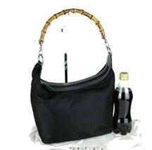 Auth Gucci Black Leather & Nylon Bamboo Hobo Shoulder Bag Hand Bag Purse... - $147.51