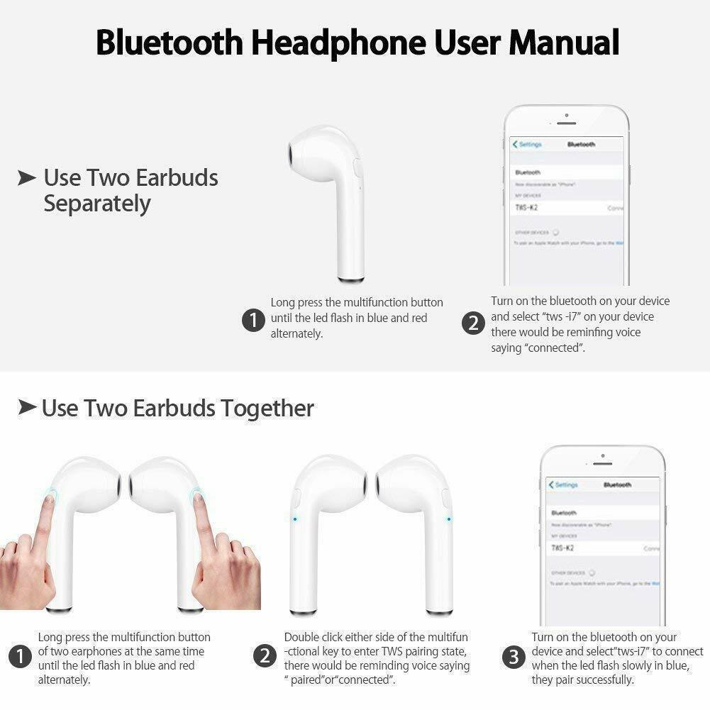 2019 Bluetooth Headphones For iPhone Android Samsung Wireless Earbuds Fast Ship