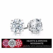 1.60 Carat Moissanite G Color VVS1 Clarity Stud Earrings 14KGold (Hearts... - $399.00