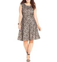 Tahari ASL Dress Sz 2 Black Taupe Beige JESSIE Jeweled Lace Career Cocktail - $69.26