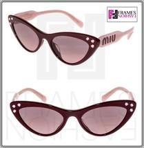 MIU MIU LOGO CRYSTAL 05T Pink Amaranth Cat Eye Sunglasses MU05TSA Authentic - $202.95